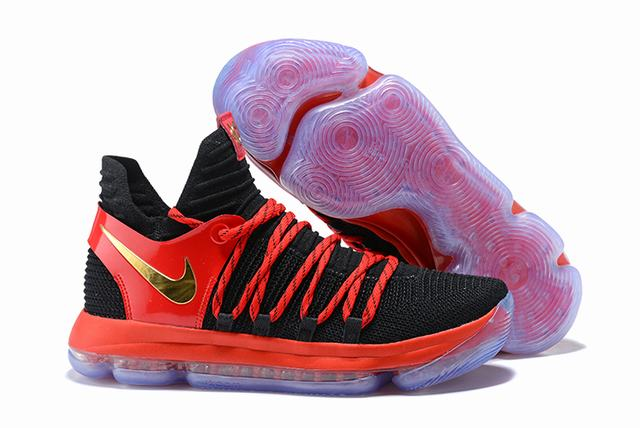 Nike KD 10 Shoes Black Red Gold