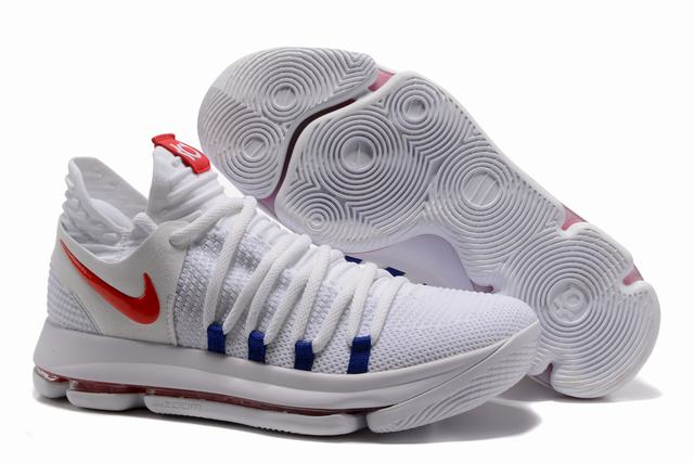 Nike KD 10 Shoes White Red