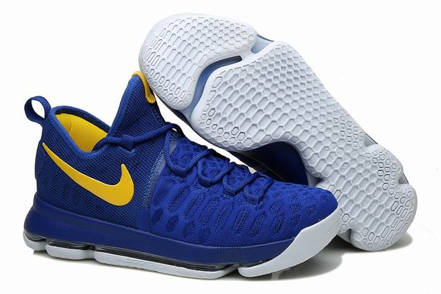 Nike KD 9 Shoes The Warriors Away Royal Blue Yellow