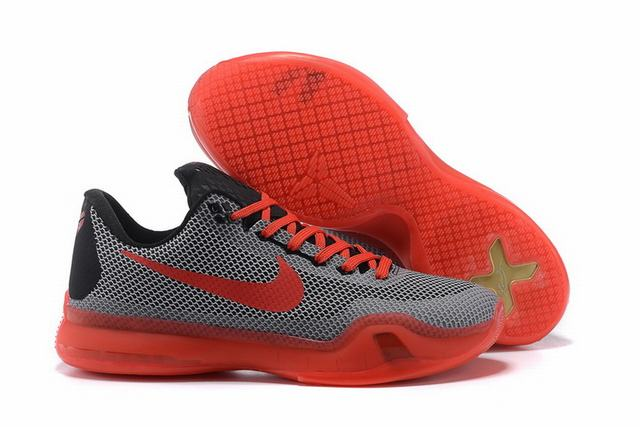 Kobe 10 Shoes Low Grey Red