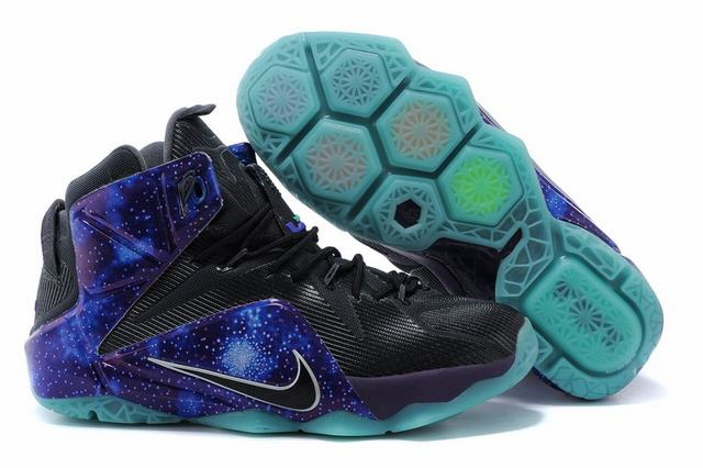 Nike Lebron James 12 Shoes Black Purple Blue