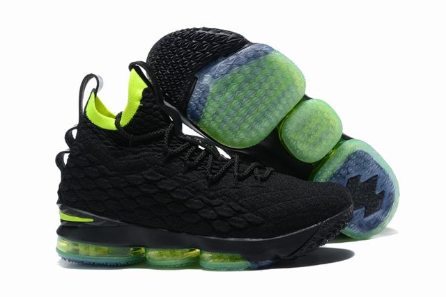 Nike Lebron James 15 Air Cushion Shoes Black Fluorescent Green