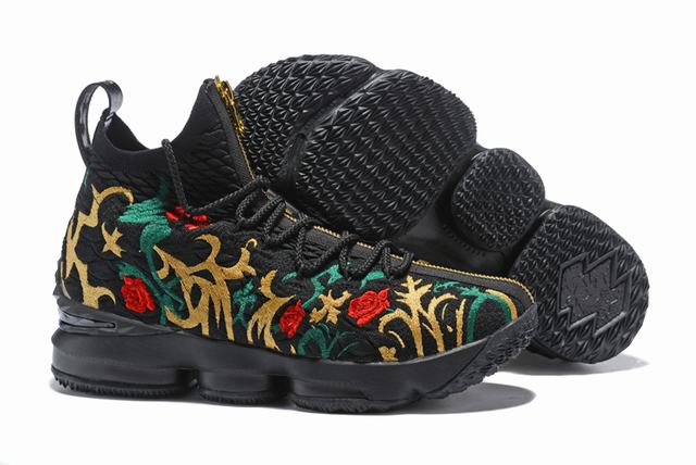 Nike Lebron James 15 Air Cushion Shoes Flowers and Plants Black