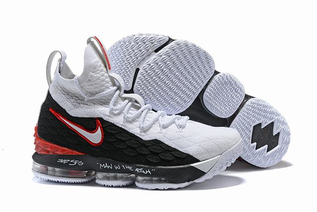 Nike Lebron James 15 Air Cushion Shoes God's Favoured One Black White Red