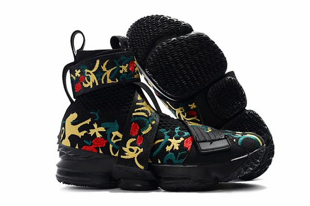 Nike Lebron James 15 Air Cushion Shoes High limited Edition Flowes and Plants Black