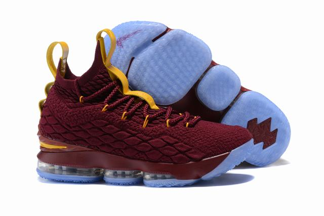 Nike Lebron James 15 Air Cushion Shoes Wine Red Yellow