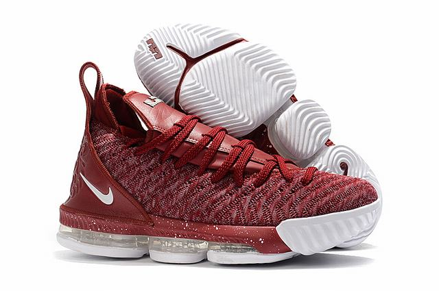 Nike Lebron James 16 Air Cushion Shoes Wine Red White